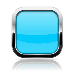 blue glass button square shiny 3d icon with metal vector image