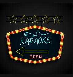 Shining retro light banner karaoke on a black vector