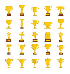 Gold cup awards icons collection vector