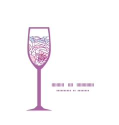 Colorful line art flowers wine glass silhouette vector