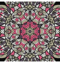 Seamless pink and brown mandala ornament template vector