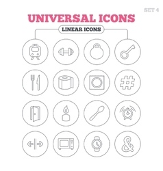 Universal icon fitness dumbbell key and candle vector