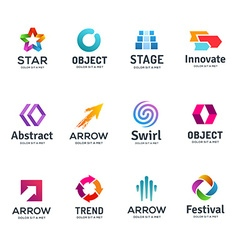 Set of abstract business logo icon design template vector