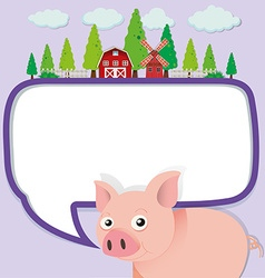 Border design with pig on the farm vector