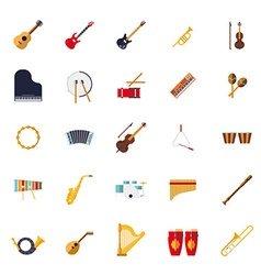 Musical instruments isolated flat design icons vector