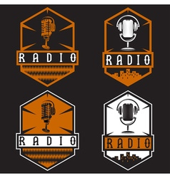 vintage labels of radio with microphone and vector image
