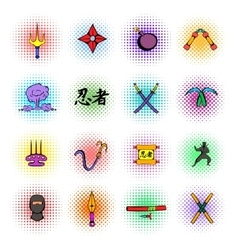 Ninja weapon icons set comics style vector