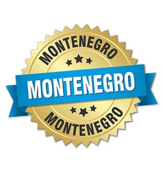 Montenegro round golden badge with blue ribbon vector