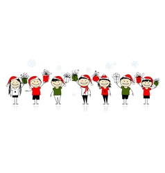 Christmas gifts happy friends together vector