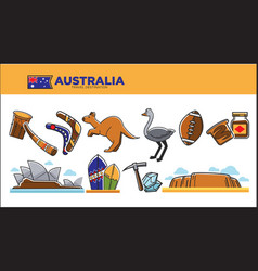 australia travel destination poster with national vector image