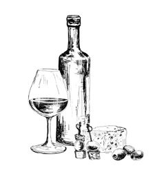 Bottle of wine and blue cheese vector image