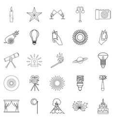 Burst icons set outline style vector