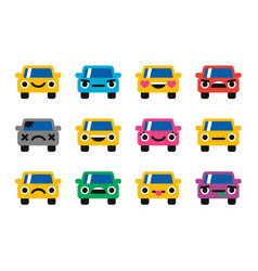 car emoticon smiles icons set vector image vector image
