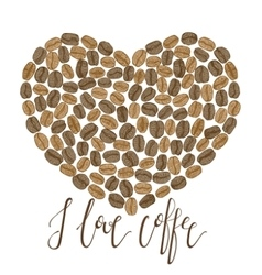 coffee heart with lettering vector image