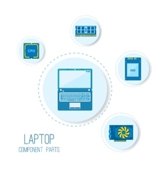 Computer parts icons vector image