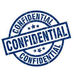 confidential blue round grunge stamp vector image vector image