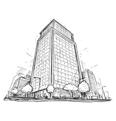 Drawing of city street high rise building vector