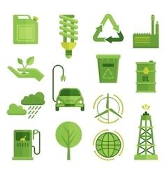 Ecology decorative flat icons set vector