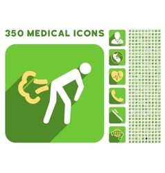 Fart icon and medical longshadow icon set vector