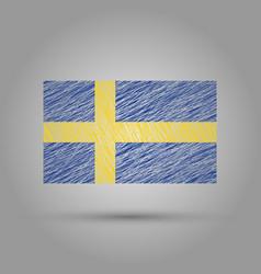 flag of sweden scratched texture vector image