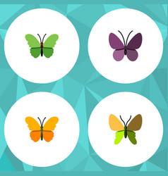 Flat monarch set of violet wing milkweed beauty vector