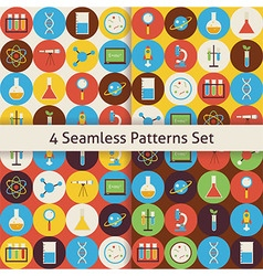 Four flat seamless science and education patterns vector