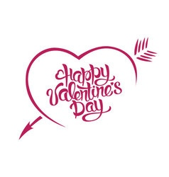 Happy Valentines Day card typography A heart with vector image vector image