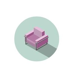 Isometric modern pink armchair 3d flat interior vector