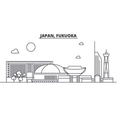 japan fukuoka architecture line skyline vector image vector image