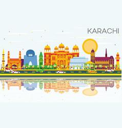 Karachi skyline with color landmarks blue sky and vector