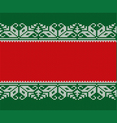 Knitted christmas red and green background vector