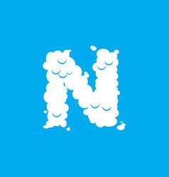 Letter n cloud font symbol white alphabet sign on vector