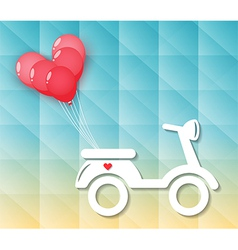 Motorcycle with red heart balloons vector