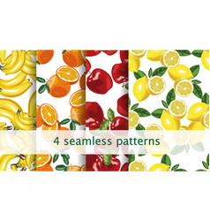 Seamless fruit pattern set repeating fruit vector