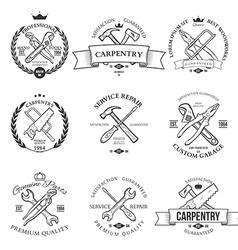 Set of vintage carpentry hand tools repair service vector