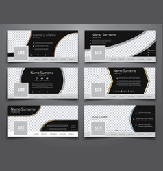 set the size of 851x314 pixels black banners for vector image