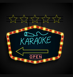 shining retro light banner karaoke on a black vector image vector image