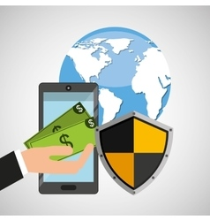 smartphone money banking safe shield protection vector image