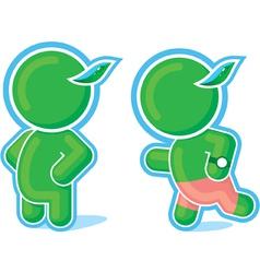 standing and running green hero vector image vector image