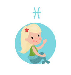 sweet little girl as pisces astrological sign vector image