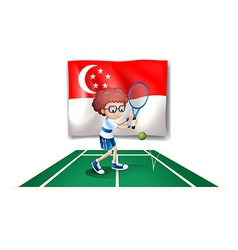 The flag of Singapore at the back of the tennis vector image