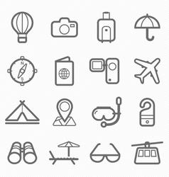 travel symbol line icon set vector image vector image