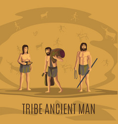 Tribe ancient people in cave vector
