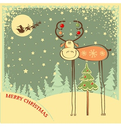 Vintage christmas card with funny bull in holiday vector