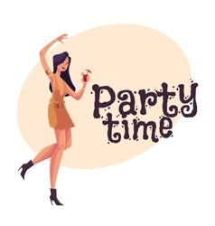 Young clubber girl in short dress dancing with vector image