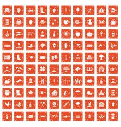 100 farm icons set grunge orange vector