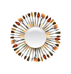 Different paint brushes in the circle isolated on vector