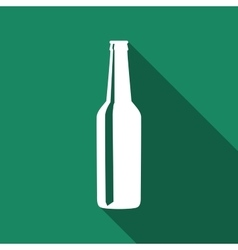 Beer bottle flat icon with long shadow vector image