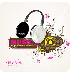 Music background with headphone design vector