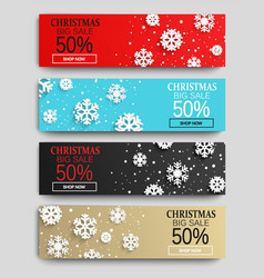 christmas sale banners set with snowflakes vector image